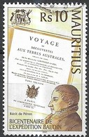MAURITIUS 2001 Bicentenary Of Baudin's Expedition To New Holland (Australia) - 10r - M. F. Peron & Title Page Of Book FU - Mauritius (1968-...)