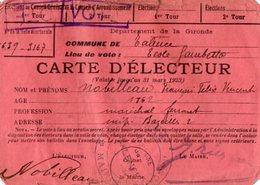 VP15.423 - Commune De TALENCE 1923 - Carte D'Electeur - Mr NOBILLEAU Maréchal Ferrant - Sin Clasificación