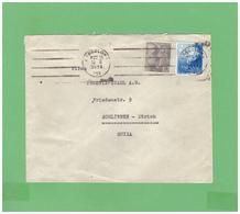 1954 ESPANA AIR MAIL POSTCARD WITH 2 DIV. STAMPS TO SWISS - 1931-Hoy: 2ª República - ... Juan Carlos I