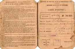 VP15.425 - BORDEAUX 1920 - Carte D'Identité - Retraites Ouvrières Et Paysannes - Mr NOBILLEAU - Non Classés