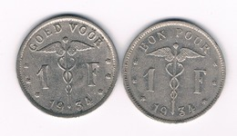 1 FRANC 1934 VL+FR BELGIE /5325/ - 1909-1934: Albert I