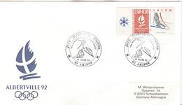 FRANCE Olympic Cover With Olympic Stamp And Olympic Handcancel Amiens Jeux Olympique D'Hiver - Winter 1992: Albertville