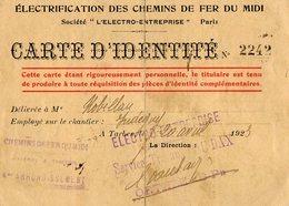 VP15.426 - TARBES 1923 - Carte D'Identité - Electrification Chemins De Fer Du Midi - Sté L'Electro - PARIS X PAU X DAX - Sin Clasificación