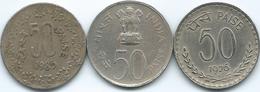 India - 50 Paise - 1976 (KM63) 1982 - National Integration (KM64) & 1985 (KM65) - India