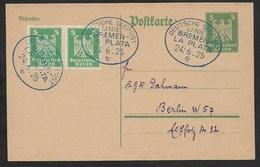 1925 - DR Schiffspost - 5Pfg Gz Mi P156 - Schiffspost LINIE BREMEN - LA PLATA Nach Berlin - Briefe U. Dokumente