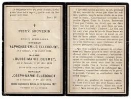 Famille ELLEBOUDT - DESMET - Ostende/Ostend - Décédés à Ostende 28/09/1917 Victimes De La Guerre WWI Oorlog -  2 Scans - Images Religieuses