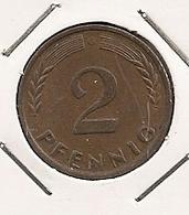 GERMANY ALLEMAGNE ALEMANHA 2 PFENNIG  1962 G 249 - [ 6] 1949-1990 : GDR - German Dem. Rep.