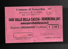 Biglietto Di Ingresso - Oasi Valle Della Caccia ( Senerchia ) AV - Biglietti D'ingresso