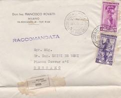 BUSTA VIAGGIATA RACC. - MILANO - DOTT. ING. FRANCESCO ROVATTI  - VIAGGIATA PER BERGAMO - 6. 1946-.. Repubblica