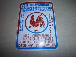 Autocollant Ancien NIVELLES Café Du Perroquet - Vignettes Autocollantes