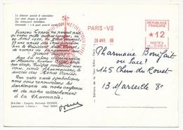 """Empreinte EMA """"Souvenir Du Sommet De La Tour Eiffel"""" Paris VII - Avril 1966 Sur CPM Publicitaire GUIGOZ - EMA (Printer Machine)"""