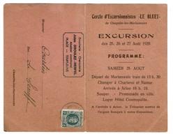 Carte D'excursionnistes Le Bluet - Chapelle-lez-Herlaimont - 1928 - Boucherie Jules Droulez-Hespel Templeuve - 3 Scans - Chapelle-lez-Herlaimont