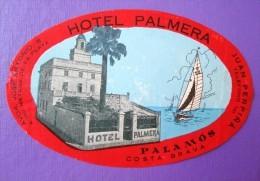 HOTEL PENSION HOSTAL PENSION PALMERA PALAMOS COSTA BRAVA SPAIN LUGGAGE LABEL ETIQUETTE AUFKLEBER DECAL STICKER MADRID - Etiketten Van Hotels