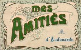 Mes Amitiés D'Audenarde Lettres Velours Vert Circulé En 1909 - Oudenaarde