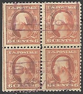 US   1911    Sc#379  6c Block Used    2016 Scott Value $5  Bison, Wyo. Cancels - United States