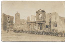 CARTE-PHOTO WW 1 ARDENNES 08   RETHEL Etat De La Ville En 1917 Cachet Du Soldatenheim De Rethel - Rethel