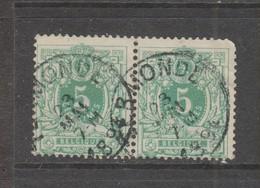 COB 45 En Paire Oblitération Centrale TERMONDE - 1869-1888 León Acostado