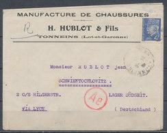 FRANCE - 24.6.1943, Cover TONNEINS - Lager SCHWIENTOCHLOWITZ, Censored - 1921-1960: Modern Period