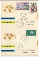 "Carte Double ""Tour Du Monde AIR FRANCE T.A.I"" 1 Et 3 Mai 1961 - Paris Et PAPEETE RP Ile Tahiti - French Polynesia"