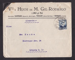 Spain: Cover To Germany, 1936, 1 Stamp, Cancel Irun (minor Damage, See Scan) - 1931-50 Brieven