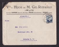 Spain: Cover To Germany, 1936, 1 Stamp, Cancel Irun (minor Damage, See Scan) - 1931-Tegenwoordig: 2de Rep. - ...Juan Carlos I
