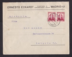 Spain: Cover To Germany, 1936, 2 Stamps (minor Damage, See Scan) - 1931-50 Brieven