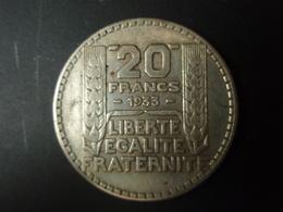 20 Francs TURIN 1933 Argent - France