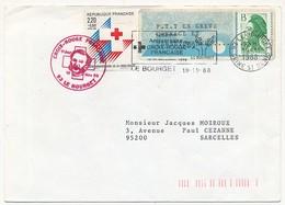 """Vignette EMA Détournée, Impression """"P.T.T. En GREVE COURAGE ET PERSEVERANCE"""" 1988 + Croix Rouge - 1985 Papier «Carrier»"""