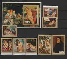 Ajman 1971 Paintings Titian - Tiziano Set Of 8 + S/s Imperf. MNH - Arte