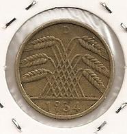 GERMANY ALLEMAGNE ALEMANHA 10 REICHPFENNIG 1934 WEINMAR REPUBLIC RARE ET RARE ETAT 257 - [ 4] 1933-1945 : Third Reich