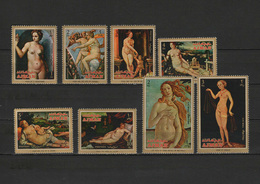 Ajman 1971 Paintings Titian - Tiziano, Raphael, Cranach Etc. Set Of 8 MNH - Kunst