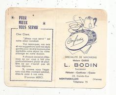 Calendrier ,petit Format ,4 Pages , 1963, Macarons ,maison CARRE , L. Bodin , Montmorillon, 2 Scans - Calendriers