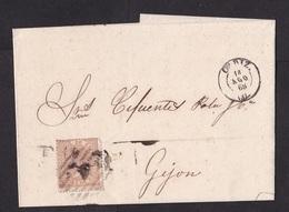 Spain: Folded Letter Cadiz To Gijon, 1868, 1 Stamp, Queen (minor Damage: Fold, See Scan) - 1850-68 Koninkrijk: Isabella II