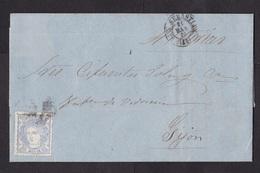 Spain: Folded Letter San Sebastian To Gijon, 1870, 1 Stamp, Queen (minor Damage: Fold, See Scan) - 1870-72 Regentschap