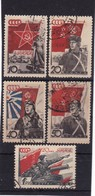 # Z.10240 Russia 1938, Incomplete Set Used, Michel 588 - 89, 91 - 92, 94: 20' Red Army - 1923-1991 USSR
