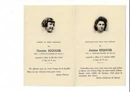 DP 8115 - FLORETTE RIQUOIR - VITRY EN ARTOIS  DECEDE 1943 - ET - JANINE RIQUOIR DECEDE 1945 - Images Religieuses