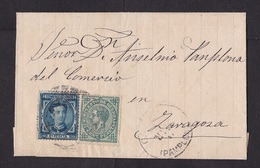 Spain: Folded Letter, 1877, 2 Stamps, King (minor Damage, See Scan) - 1875-1882 Koninkrijk: Alfonso XII