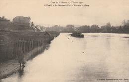 La Crue De La Meuse, 23 Février 1910 - La Meuse Au Port - Vue Sur La Gare - Sedan