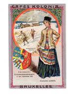 Chromo Costumes De Suède, Cafés Kolonia, Bruxelles, Serie 2, N° 12 - Trade Cards