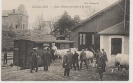 Saône Et Loire GENELARD  Quai D'embarquement à La Gare (belle Animation, Troupeau) - France