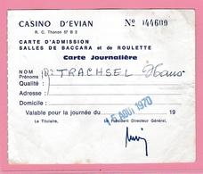 Fr.30 Timbre Fiscal 2.00f / Carte D'admission Casino D' EVIAN 15.8.1970 Baccara Roulette (avec Un Pli Central ) - Fiscali