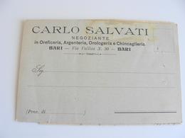 1908  BARI  SALVATI   NEGOZIO  OREFICERIA OROLOGI ARGENTI   COMMERCIO VIAGGIATA  COME DA FOTO FORMATO PICCOLO - Mercanti