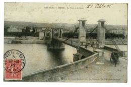 Neuville Sur Saône - Le Pont Et Le Quai (calèche, Animation) Circulé 1906 - Neuville Sur Saone