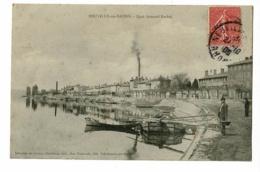 Neuville Sur Saône - Quai Armand Barbès (barge, Animation, Cheminée Crachant Fumée) Circulé 1906 - Neuville Sur Saone