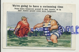 """Humour. Couple De Personnes Corpulentes """"la Mer Monte"""". Donald Mc Gill. 1924 - Mc Gill, Donald"""