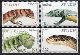 Sainte-Lucie - 1984 - Yvert N° 652 à 655 ** - Faune, Lézards Et Serpents - St.Lucie (1979-...)