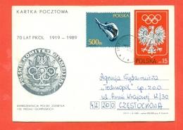 TUFFI - NUOTO -OLIMPIADI  POLONIA - 1989 - INTERI POSTALI - Kunst- Und Turmspringen