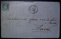 Vermenton Yonne 1864 GC 4147 Lettre De Alfred Roque (cachet Au Dos) Pour Paris - 1849-1876: Période Classique