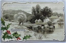 """""""Weihnachten, Disteln, Landschaft, Kühe"""" 1907, Prägekarte  ♥  (6928) - Weihnachten"""