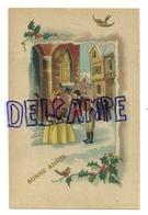 """Bonne Année. Couple """"Belle Epoque"""", Bouquet, église, Mendiant, ... Houx - New Year"""